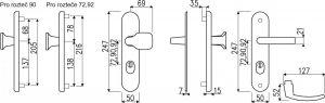 Bezpečnostní kování R.111.ZA.90.F1.TB3 s překrytem vložky