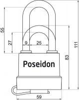 Visací zámek POSEIDON 50 voděodolný