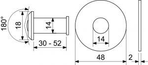 Dveřní kukátko 30-52mm mosaz