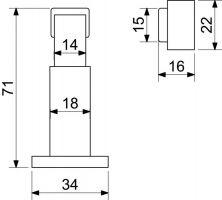 Dveřní zarážka magnetická nikl matná