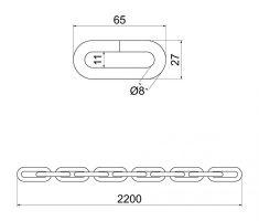 Řetěz HARDENED 8x2200mm