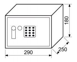 Trezor ocelový s elektronickým zámkem a pákou 4,4kg