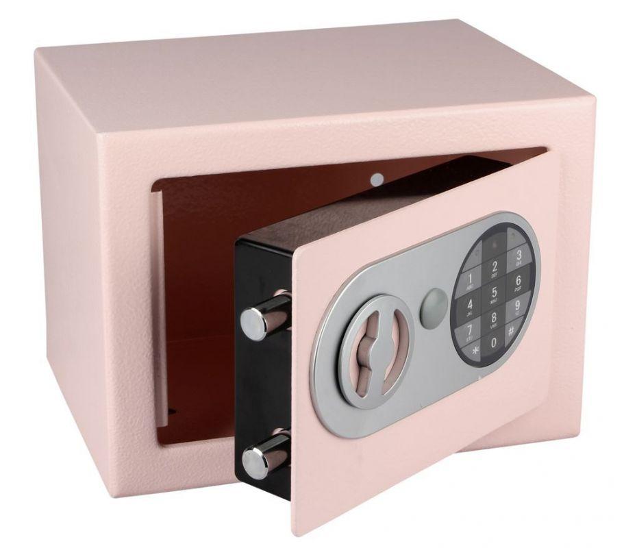 Trezor ocelový s elektronickým zámkem růžová
