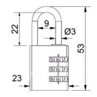 Visací zámek kódový - 23mm - stříbrná