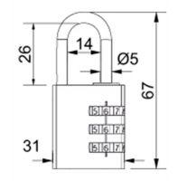 Visací zámek kódový - 30mm - červená