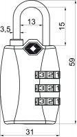 Visací zámek kódový - TSA - cestovní - 67g