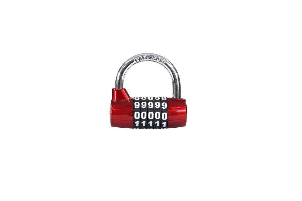 Visací zámek kódový - zinek - červená