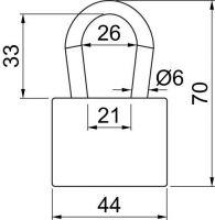 Visací zámek ocelový lamelový 6mm