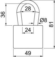 Visací zámek ocelový lamelový 8mm