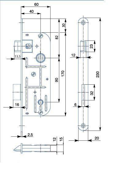 Zámek zadlabací pro dózický klíč HOBES 02-03 P/L R90 Z60 D40 C20 ZP1