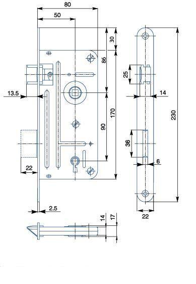 Zámek zadlabací pro dózický klíč HOBES 548A P/L R90 Z80 D50 C22 ZP2