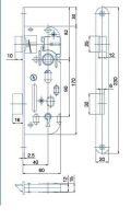 Zámek zadlabací pro tvarový klíč HOBES 01-15 P/L R90 Z60 D40 C20