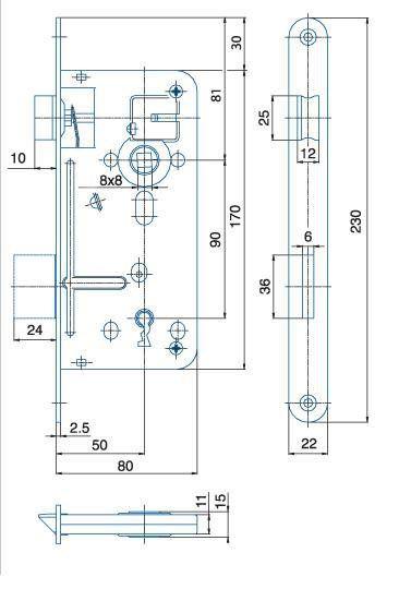 Zámek zadlabací pro tvarový klíč HOBES 536A P/L R90 Z80 D50 C22