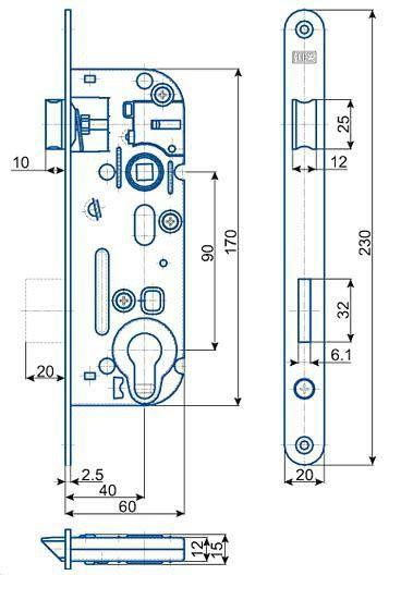 Zámek zadlabací vložkový HOBES 02-04A P/L R90 Z60 D40 C20 ZP2