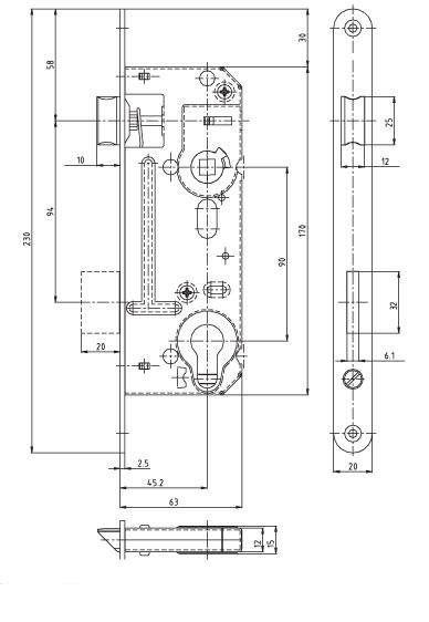 Zámek zadlabací vložkový HOBES 02-06 P/L R90 Z63 D45,2 C20 ZP2 P