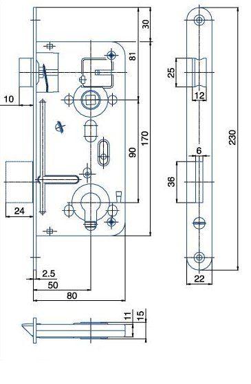 Zámek zadlabací vložkový HOBES 24026 P/L R90 Z80 D50 C22 ZP2
