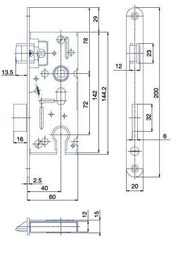 Zámek zadlabací vložkový HOBES K105 P/L R72 Z60 D40 C18 ZP1 P