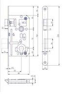 Zámek zadlabací vložkový HOBES K133 P/L R72 Z80 D50 C20 ZP2 P