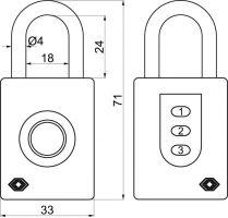 Visací zámek TSA na otisk prstu a kód