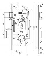 Zámek zadlabací vložkový RICHTER Z.301.-PZ.90/50-80/22.PL (24026)